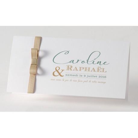 Faire-part mariage chic blanc ruban bronze Buromac Papillons 2018 105.033