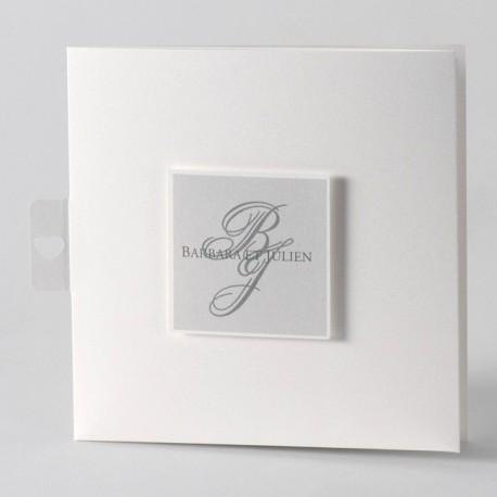 Faire-part de mariage elegant blanc gris Buromac Papillons 105.036
