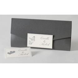 Faire-part de mariage chic pochette gris papillons Buromac Papillons 105.047