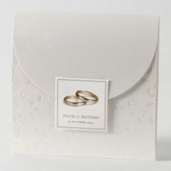 Faire-part de mariage chic pochette nacre alliance Buromac Papillons 105.054