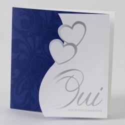 Faire-part de mariage chic bleu coeur oui dorure Buromac Papillons 105.056