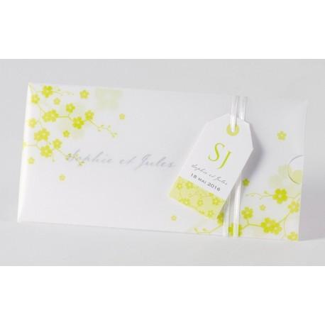 Faire-part de mariage elegant calque nature calque Buromac Papillons 105.058
