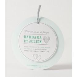 Faire-part de mariage fantaisie rond disque ruban Buromac Papillons 105.059