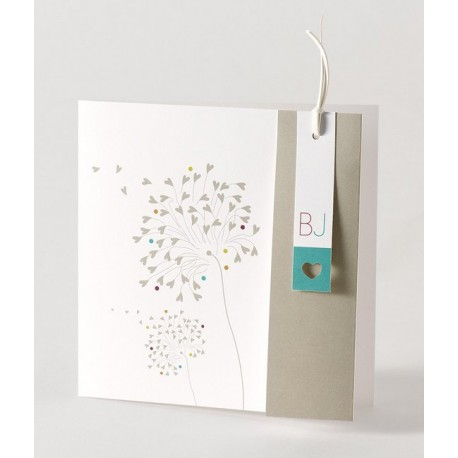 Faire-part de mariage vintage arabesques florales Buromac Papillons 105.060