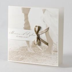 Faire-part de mariage classique sepia couple plage Buromac Papillons 105.061