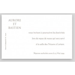 Carte lunch ou remerciements blanc cassé martelé REGALB Toi&Moi 2018 KB813