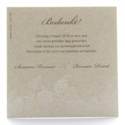 Carte lunch ou remerciements irisé crème arabesques florales blanches BELARTO Celebrate Love 725596