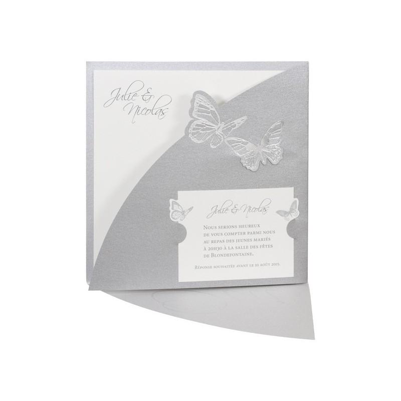 faire part mariage pochette papillon gris dorure argent. Black Bedroom Furniture Sets. Home Design Ideas