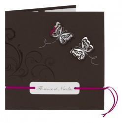 Faire-part de mariage marron arabesques papillons dorure argent  BUROMAC La Vie en Rose 102.062