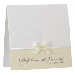 Faire part de mariage chic blanc gauffrage nacre coeur noeud jaune  BUROMAC la vie en rose 104.016