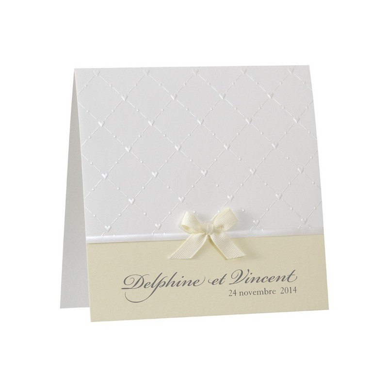 faire part mariage chic blanc nacre coeur noeud jaune buromac 104016. Black Bedroom Furniture Sets. Home Design Ideas