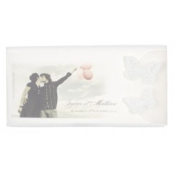 Faire part de mariage photo papillons photo plastique transparent BUROMAC la vie en rose 104.017