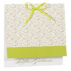 Faire part de mariage fantaisie nature fleur vert Buromac la vie en rose 104.049