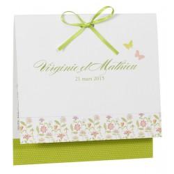 Faire part de mariage fantaisie nature fleurs papillons Buromac la vie en rose 104.050