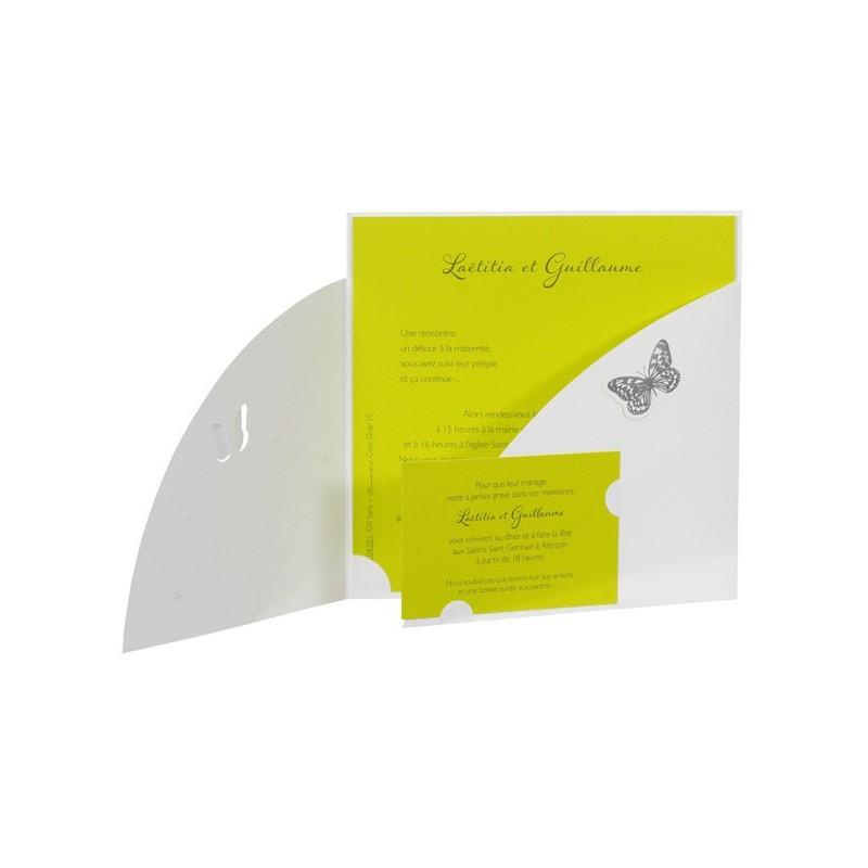 Fabuleux Faire part de mariage chic arabesque papillon vert anis Buromac 104051 KE21