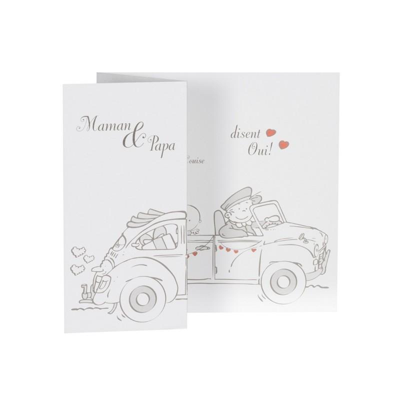 Exceptionnel part de mariage humoristique couple voiture Buromac la vie en rose  ES37