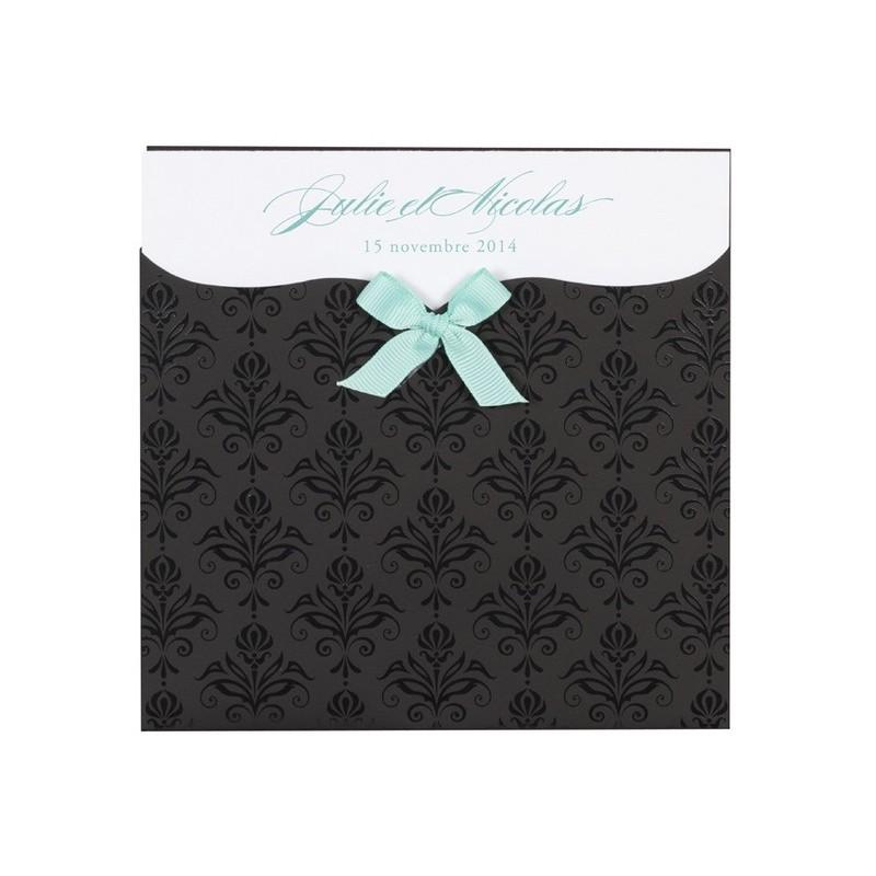 faire part mariage noir et blanc arabesques pochette buromac 104064. Black Bedroom Furniture Sets. Home Design Ideas