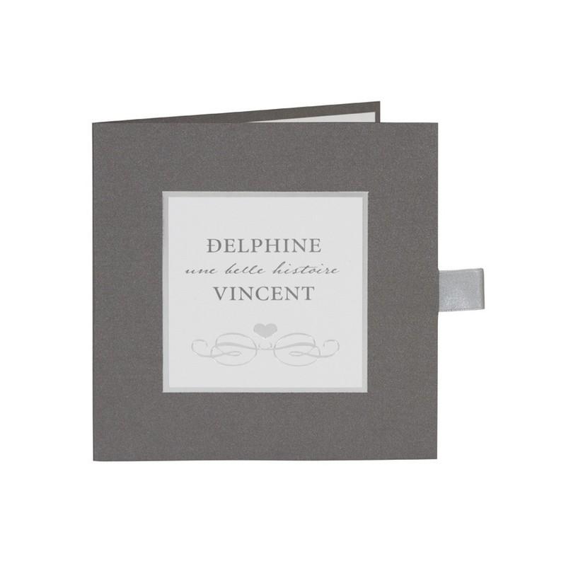 faire part de mariage legant gris pochette dorure argent buromac la vie en rose. Black Bedroom Furniture Sets. Home Design Ideas
