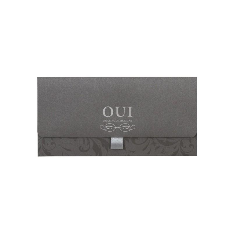 faire part mariage chic pochette gris oui buromac vie en rose 104073. Black Bedroom Furniture Sets. Home Design Ideas
