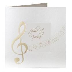 Faire part de mariage vintage musique dorure or Buromac la vie en rose 104.091