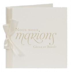 Faire part de mariage classique ivoire ruban Buromac la vie en rose 104.157