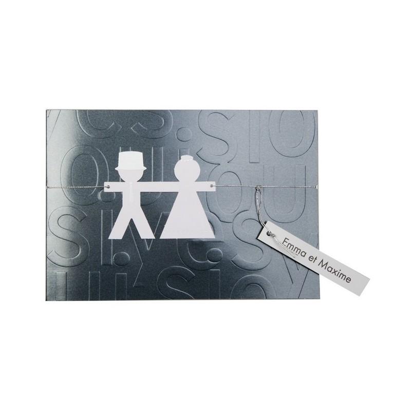 faire part de mariage original noir et blanc busquet. Black Bedroom Furniture Sets. Home Design Ideas