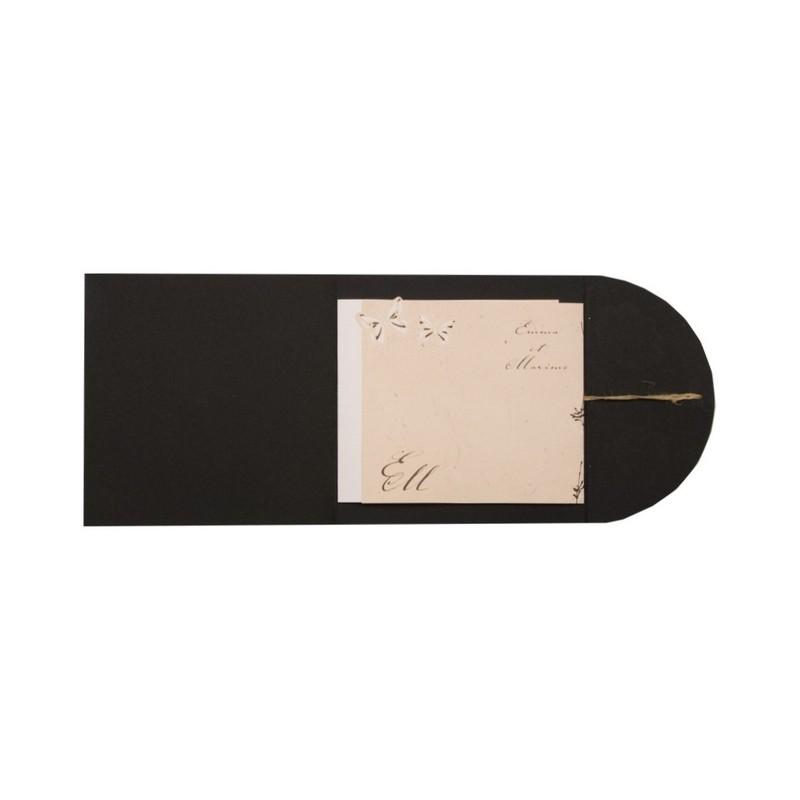 faire part de mariage original pochette noir busquet. Black Bedroom Furniture Sets. Home Design Ideas