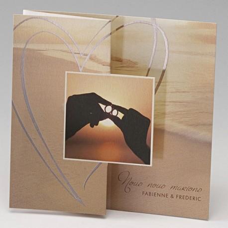 Faire part de mariage romantique plage soleil alliance BELARTO Celebtrate Love 729213