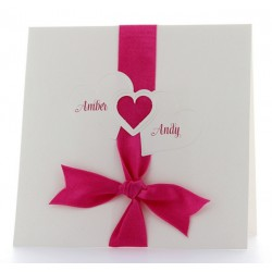 Faire part de mariage fantaisie coeur ruban fuchsia BELARTO Wedding Romance 724017-624L