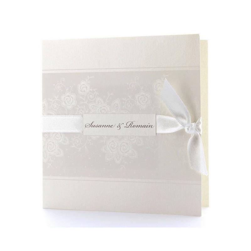 faire part de mariage l gant cr me arabesque ruban belarto romantic 726906. Black Bedroom Furniture Sets. Home Design Ideas