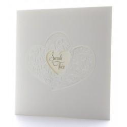 Faire part mariage classique crème coeur arabesque nacre BELARTO Romantic 726908