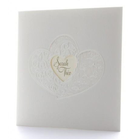 Faire part mariage classique crème coeur arabesque nacre BELARTO Celebrate Love 723909