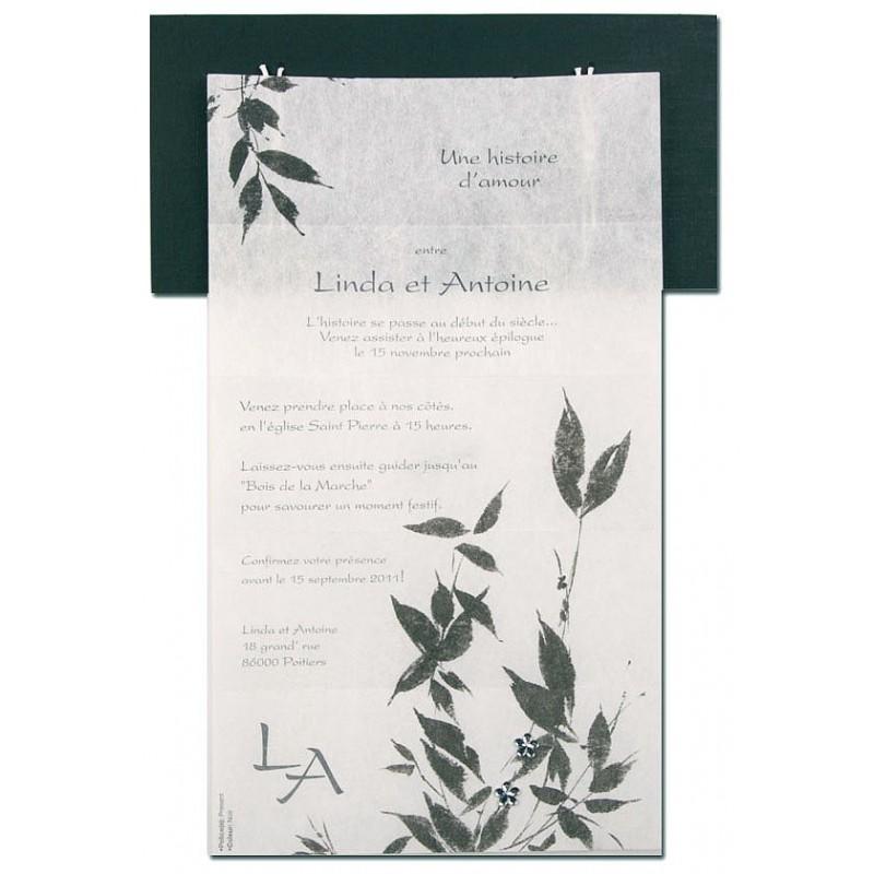 faire part de mariage fantaisie zen noir et blanc busquet l3204415311. Black Bedroom Furniture Sets. Home Design Ideas