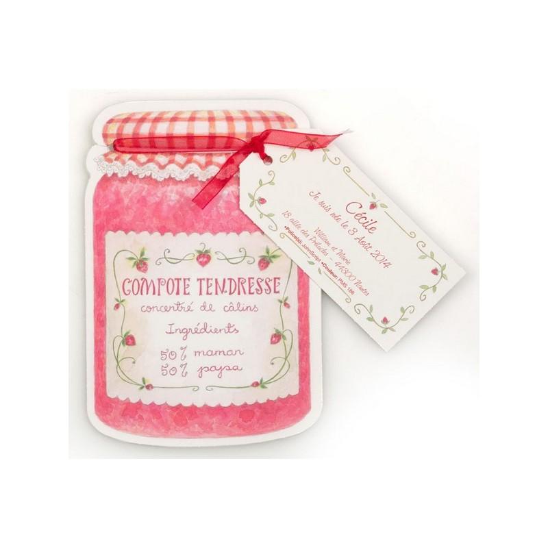 faire part de naissance original pot de confiture fraise busquet 3102716306c. Black Bedroom Furniture Sets. Home Design Ideas