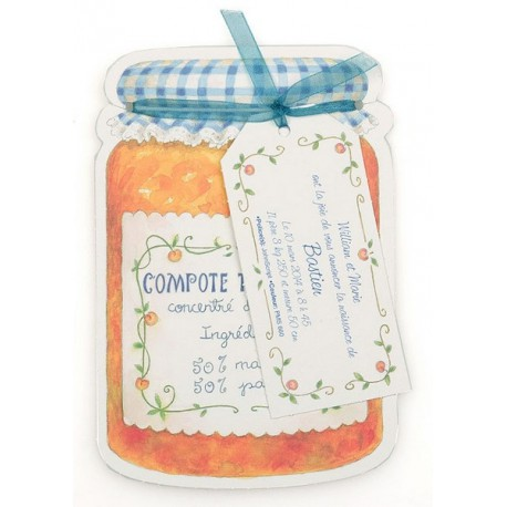 Faire-part de naissance original pot de confiture orange Busquet 3102716307C