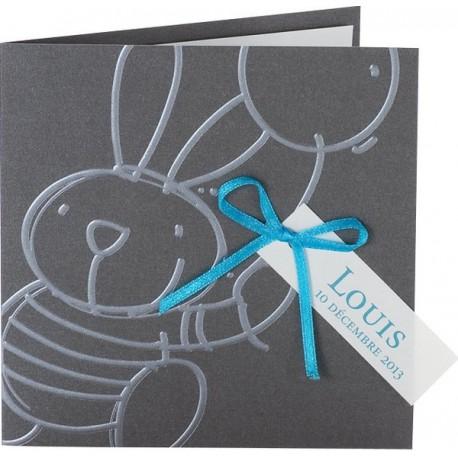 Faire-part de naissance chic gris lapin ruban bleu buromac baby folly 582.006