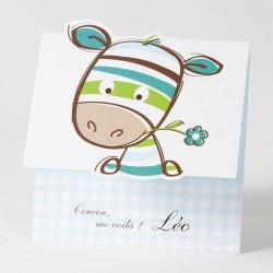 Faire-part de naissance fantaisie garçon zèbre bleu Buromac Baby Folly 584.035