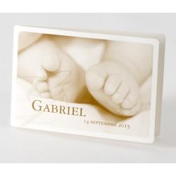 Faire part de naissance vintage photo sepia pieds Buromac Baby Folly 584.061