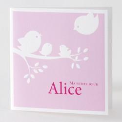 Faire-part naissance fille rose oiseaux Buromac Baby Folly 584.079