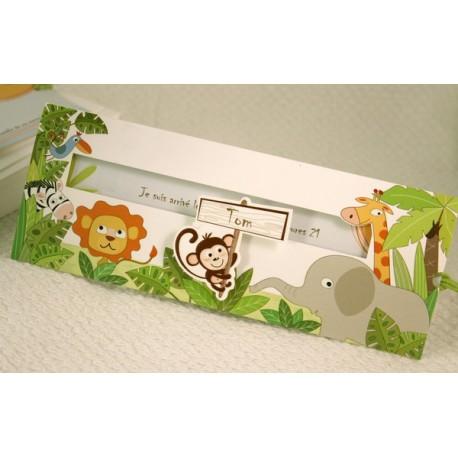 Faire-part naissance humoristique coulissant animaux de la jungle Faire Part Select Petite Forêt 89321C