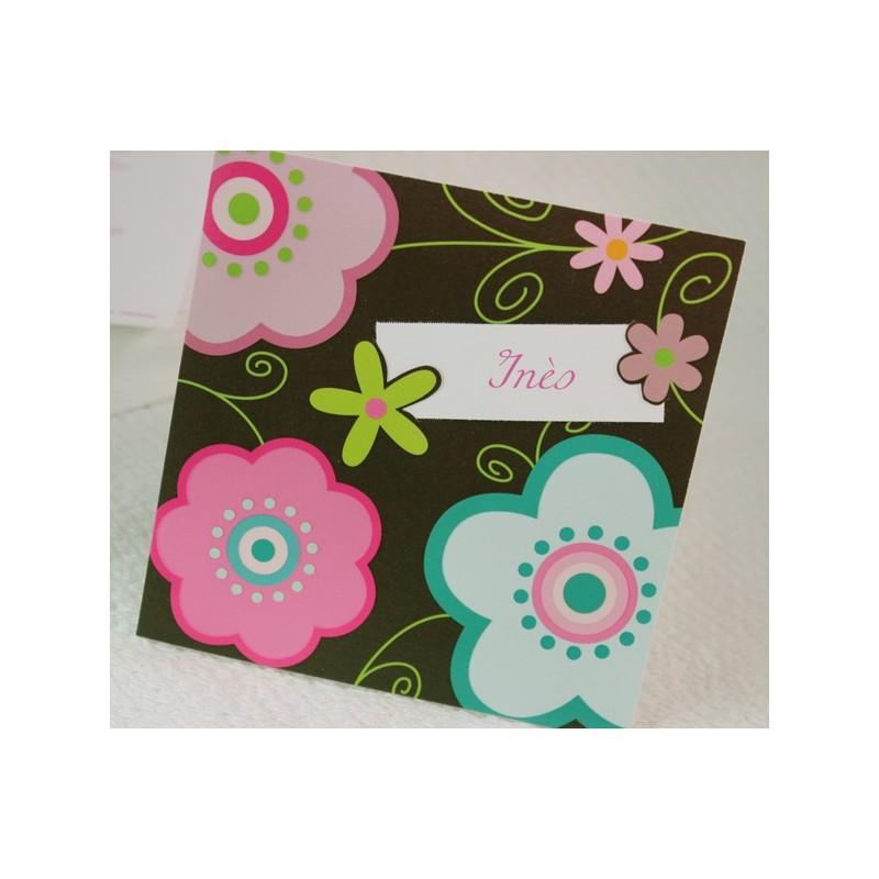 faire part naissance fantaisie marron et fleur fps petite for t 89336c. Black Bedroom Furniture Sets. Home Design Ideas