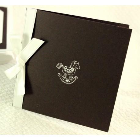 Faire-part naissance elegant marron et ruban blanc Faire Part Select Petite Forêt 89337D