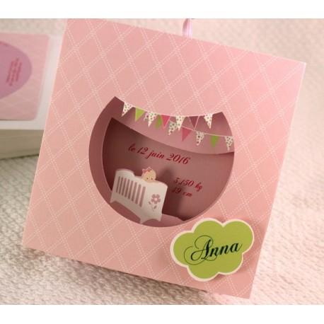 Faire-part naissance pop-up rose fille Faire Part Select Petite Forêt 89347G