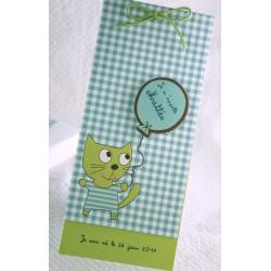 Faire-part naissance fantaisie vichy bleu garçon Faire Part Select Petite Forêt 89367D