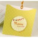 Faire-part naissance tendance pochette jaune pois blanc  Faire Part Select Petite Forêt 89374F