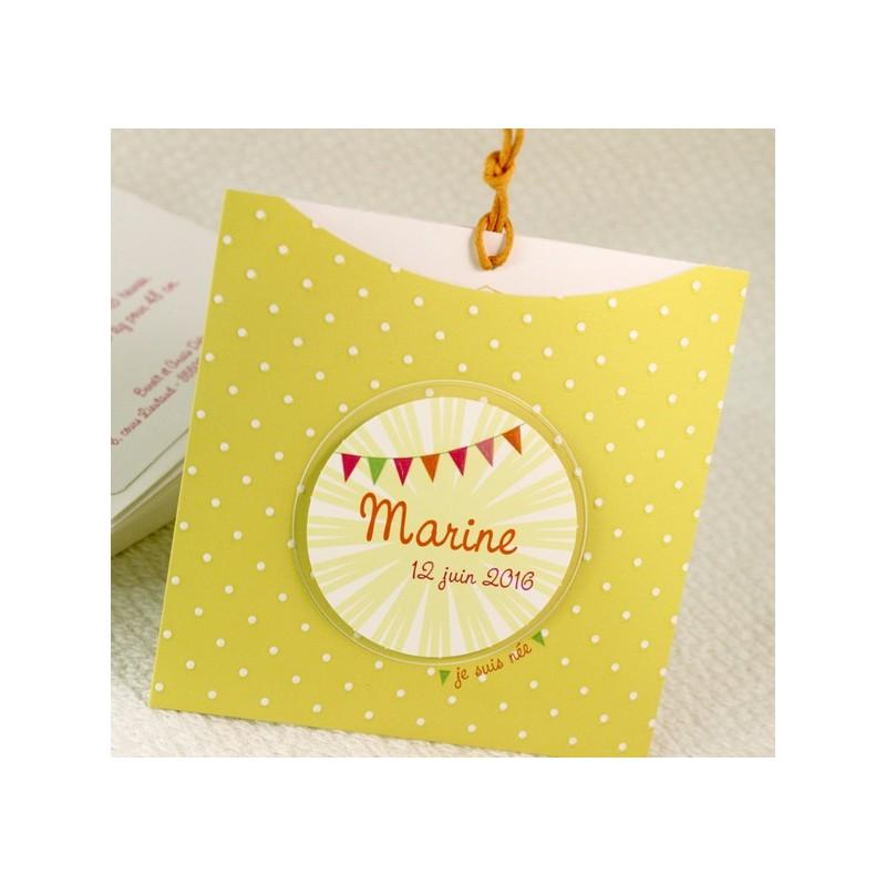faire part naissance pochette jaune pois blanc fps petite for t 89374f. Black Bedroom Furniture Sets. Home Design Ideas