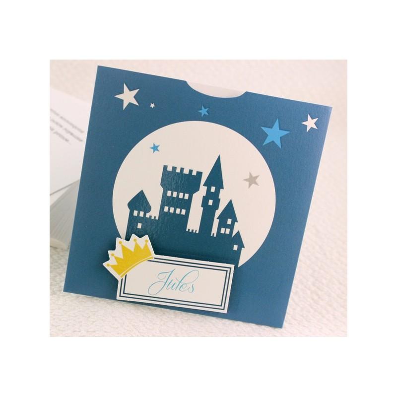 faire part naissance pochette bleu nuit chateau fps petite for t 89379c. Black Bedroom Furniture Sets. Home Design Ideas