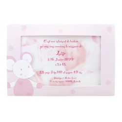 Faire part de naissance fille rose porte photo  REGALB Sucre d'Orge CSH4924