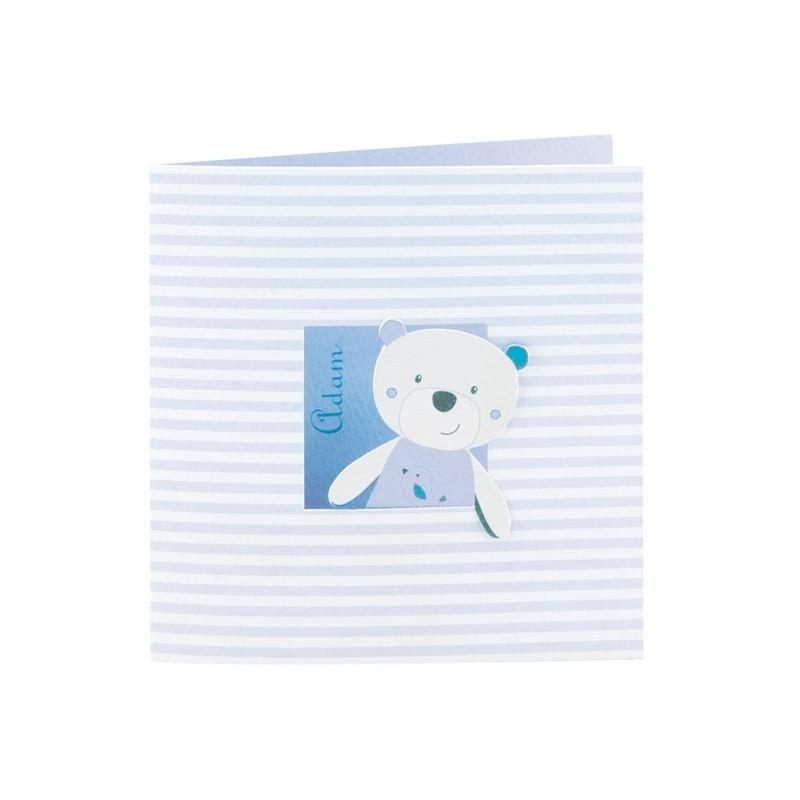 Faire part de naissance gar on ourson bleu regalb sucre d 39 orge csh7239 - Faire part sucre d orge ...