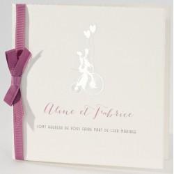 Faire-part mariage vintage argenture ruban rose Buromac La Vie en Rose 106.105